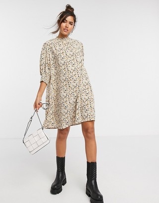 Vila mini smock dress with high neck in ditsy floral