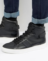 Hugo By Hugo Boss Futurisn Tenn Laser Cut Hi Top Trainers
