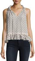 Rebecca Taylor Sleeveless Box Clip Top, White/Black