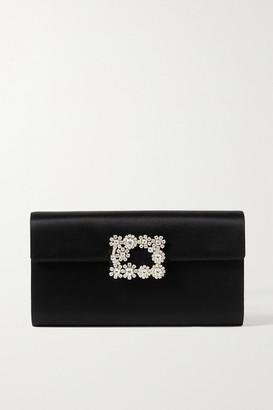 Roger Vivier Flower Crystal-embellished Leather Clutch - Black