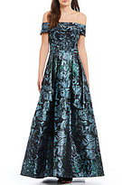 Calvin Klein Off-the-Shoulder Metallic Floral Ballgown