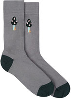 Paul Smith Men's Mushroom Cotton-Blend Mid-Calf Socks-GREY