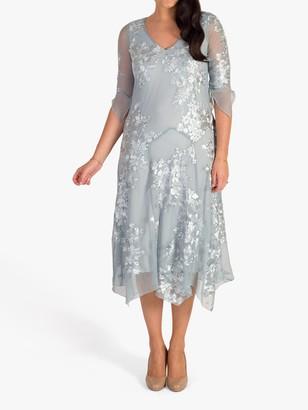 Chesca Floral Print Mesh Midi Dress, Aqua