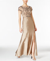 Adrianna Papell Beaded Cap-Sleeve Slit Gown