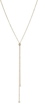 ginette_ny 18K Rose Gold & Diamond Ball Chain Lariat Necklace