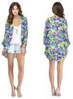Coromose Women Floral Loose Shawl Kimono Boho Chiffon Cardigan Coat Jacket