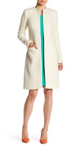 Oscar de la Renta Long Sleeve Jewel Neck Coat