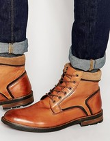 Dune Lace Up Boots In Tan Leather