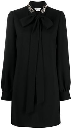 Blumarine Pussybow-Neck Shift Dress