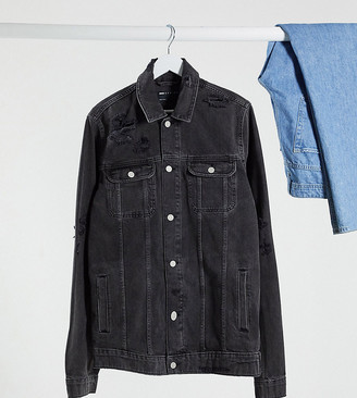 ASOS DESIGN Tall denim jacket in washed black with rips