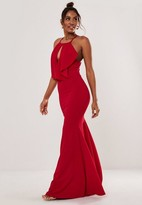 Missguided Red Halter Keyhole Fishtail Maxi Dress