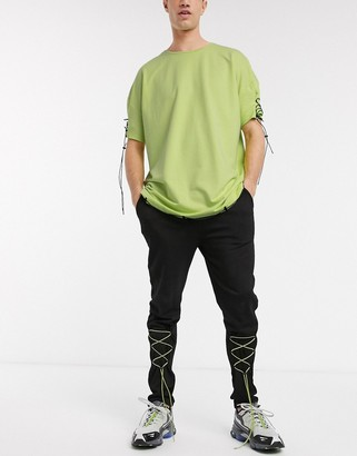 One Above Another co-ord joggers with pull ties in neon green