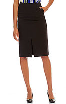 Calvin Klein Luxe Stretch Suiting Slit Front Top-Stitched Pencil Skirt