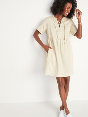 Old Navy Lace-Up Twill Shift Dress for Women