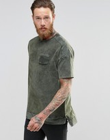 Asos Oversized T-Shirt With Military Pocket Detail And Acid Wash