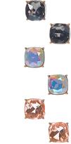 Carole Blue Clear & Pink Square Stud Earrings Set