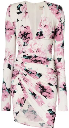 Alexandre Vauthier Ruched Floral Print Mini Dress