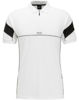Slim-fit polo shirt with zip neck and S.Caf