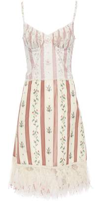 Brock Collection Layered Swiss Dot And Feather-trimmed Floral-print Taffeta Dress