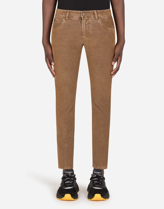 Dolce & Gabbana Five-Pocket Garment-Dyed Cotton Pants