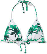 Salinas Tropicale Light Pique Bikini Top in White/Green
