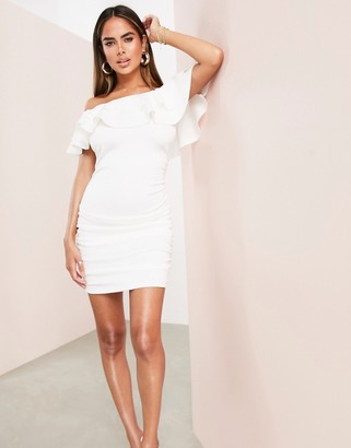Asos Design ASOS LUXE bardot ruffle off shoulder mini dress with ruched detail in white