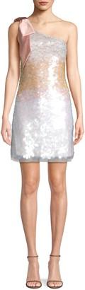 Parker Bow One-Shoulder Sequin Mini Dress