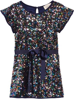 Hannah Banana Flutter Sleeve Sequin Shift Dress