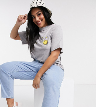 Daisy Street Plus relaxed t-shirt with sunshine print