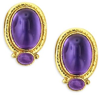 Elizabeth Locke Stone 19K Yellow Gold & Amethyst Cabochon Earrings