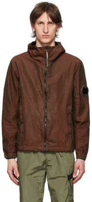 C.P. Company Burgundy P.Ri.S.M. Lens Arm Hooded Jacket
