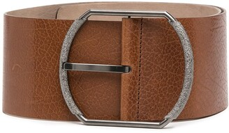 Brunello Cucinelli Wide Leather Buckle Belt