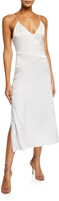 Alice + Olivia Kayla Seamed V-Neck Slip Dress