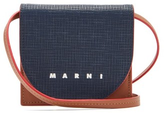Marni Logo-print Leather Mini Cross-body Bag - Navy