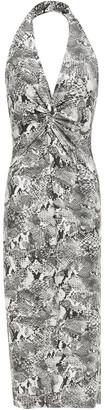 Enza Costa Twist-front Snake-print Stretch-jersey Halterneck Dress