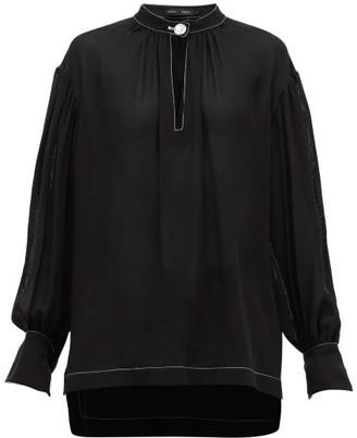 Proenza Schouler Buttoned-keyhole Silk-georgette Blouse - Black