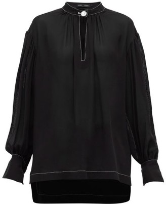Proenza Schouler Buttoned-keyhole Silk-georgette Blouse - Womens - Black