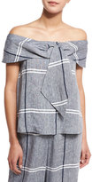 Suno Off-the-Shoulder Plaid Linen-Blend Blouse, Chambray