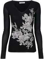 D-Exterior D.Exterior floral embroidered v-neck sweater