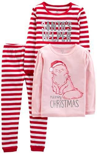 Carter's Simple Joys by Girls' Toddler 3-Piece Snug-Fit Cotton Christmas Pajama Set