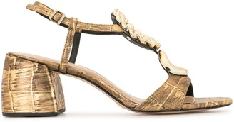 Vicenza Metallic Block-Heel Sandals