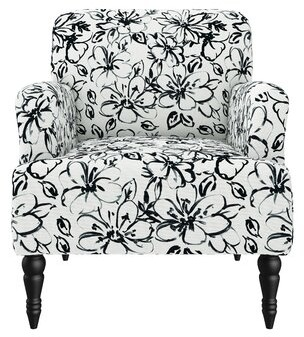 Canora Grey Castorena Upholstered Armchair In Lily-Inspired Print Fabric: White