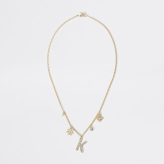 River Island Girls Gold colour K embellished necklace