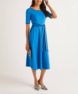 Boden Women's Casual Dresses Bold - Bold Blue Ruby Ponte Tie-Waist Fit & Flare Dress - Women, Women's Tall & Petite