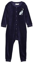 Mini Rodini Rabbit Velour Onesie Dark Blue