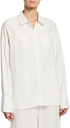 Co Wide-Cuffed Jersey Button-Front Shirt