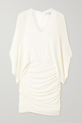 Halston Ruched Stretch-jersey Mini Dress - Off-white