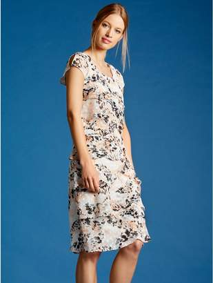 M&Co Blurred spot print chiffon shutter dress