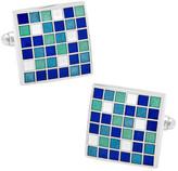 Cufflinks Inc. Men's Blue Mosaic Checker Board Cufflinks
