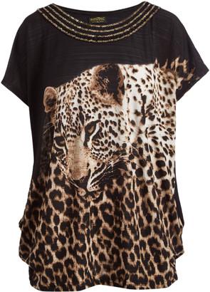 Paris Pink U.S. Women's Tee Shirts Black - Brown & Black Leopard Embellished-Yoke Short-Sleeve Top - Women